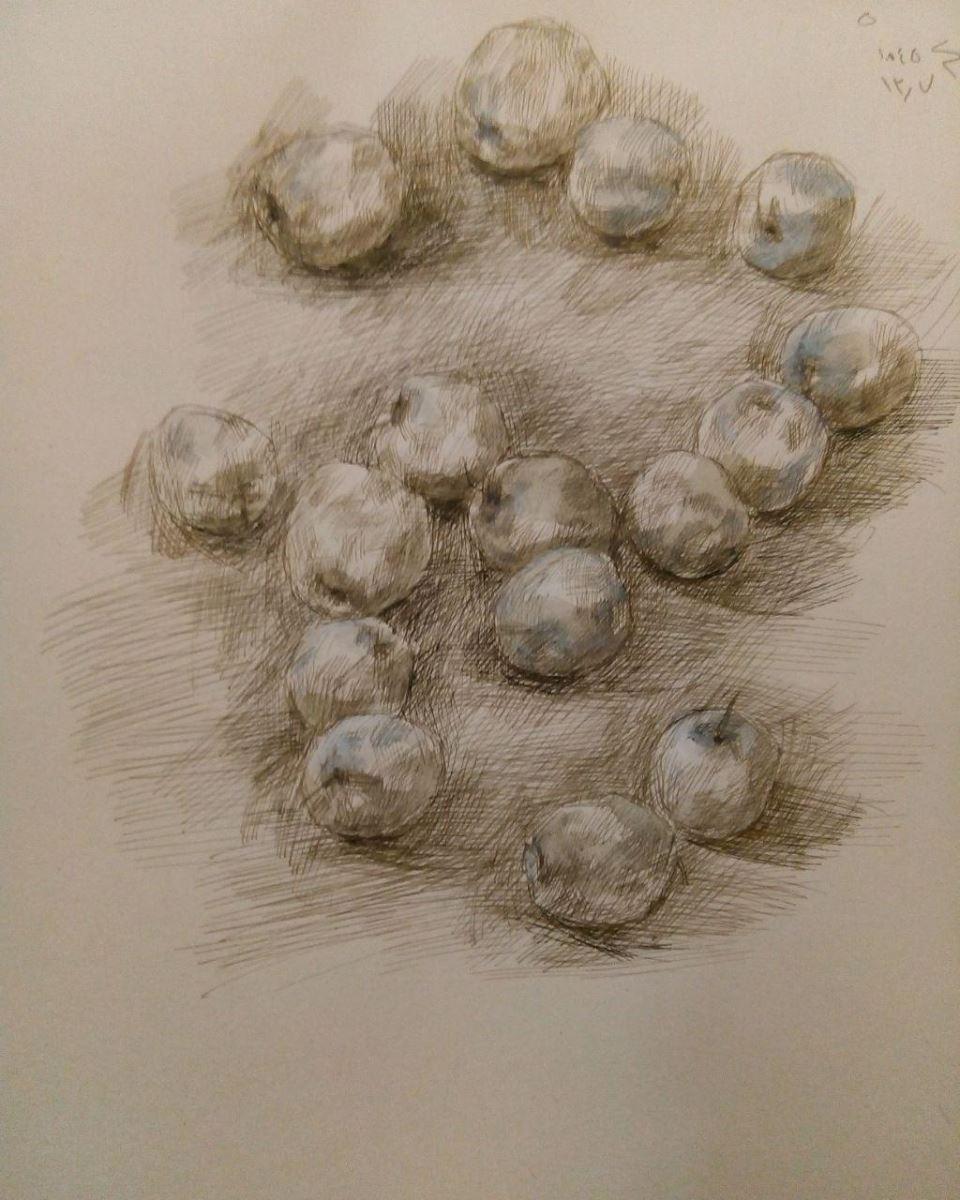 Mina Bahreini   metal pen and acrylic on paper