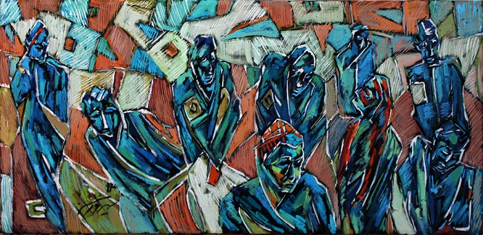 Oil on canvas , 100 * 40 cm